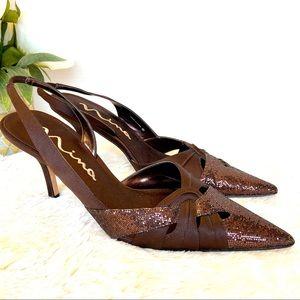 NINA Sparkle Brown Heeled Pointed Slingback Sandal